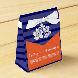 Blue orange wedding cherry blossom party favor boxes