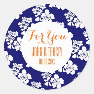Blue orange wedding cherry blossom round sticker