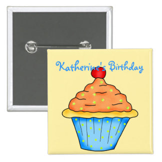 Blue, Orange & Yellow Personalized Cupcake Pinback Button