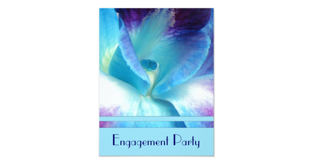 Blue Orchid Wedding Invitations: Blue Orchid Engagement Party Invitation