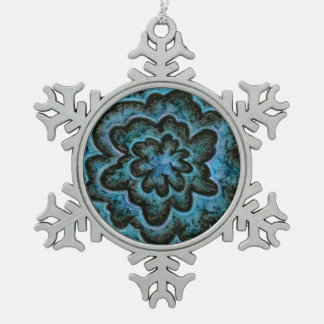 Blue Orchid Snowflake Pewter Christmas Ornament