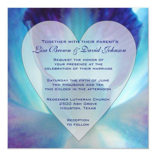 blue orchid wedding invitation zazzleca