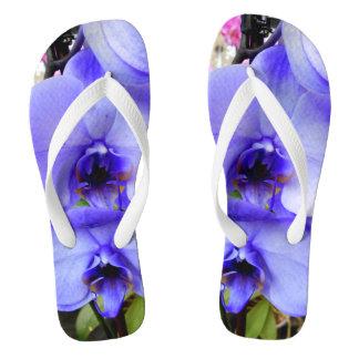 Blue Orchids Flip Flops