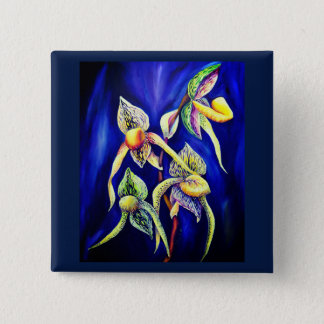 Blue orchids  painting 2 inch square button