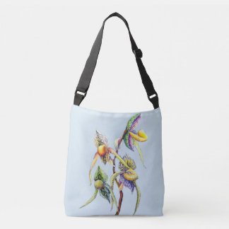 Blue orchids  painting crossbody bag