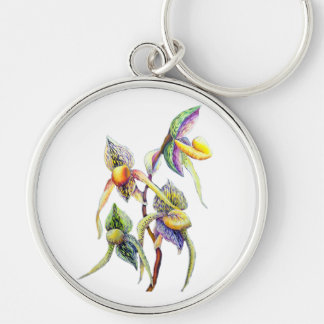 Blue orchids  painting keychain