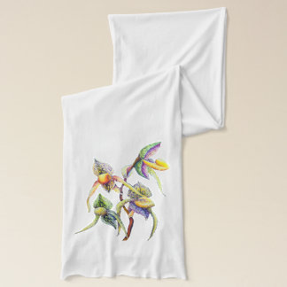 Blue orchids  painting scarf