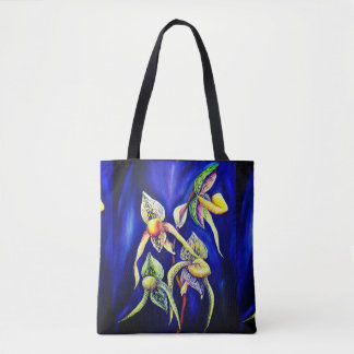 Blue orchids  painting tote bag