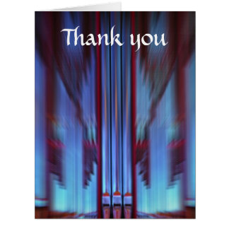 Blue organ pipes large thank you card