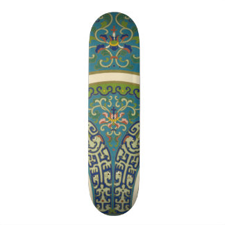 Blue Oriental Designs with Smiling Faces Skateboards