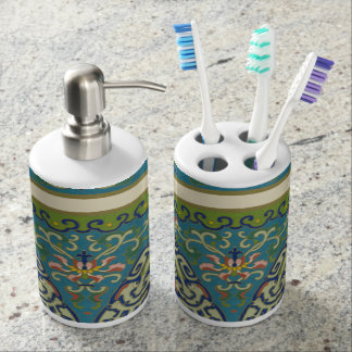 Blue Oriental Designs with Smiling Faces Soap Dispenser And Toothbrush Holder
