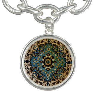 Blue Oriental Rug Charm Bracelet