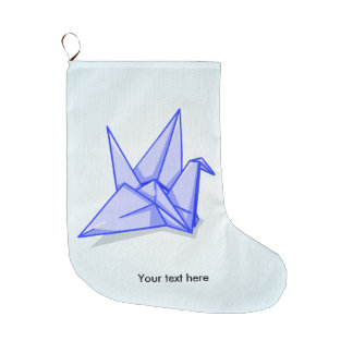 Blue origami crane large christmas stocking