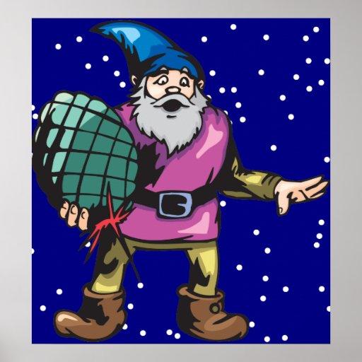 Blue Ornament and Santas Elf Poster