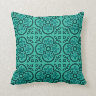 Blue Ornamental Medieval Pattern Pillow