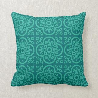Blue Ornamental Medieval Pattern Pillow
