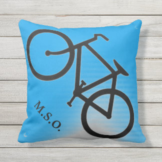 Blue  outdoor personalized Monogram  on Bike sign Throw Pillow