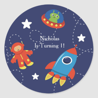 Blue Outer Space Alien UFO  Personalized Classic Round Sticker