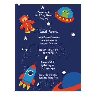 Blue Outer Space UFO Baby Shower Postcard