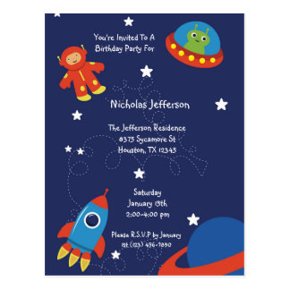 Blue Outer Space UFO Birthday Invitation Postcard
