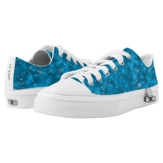 Blue Outer Space, White Stars Pattern Canvas Shoes
