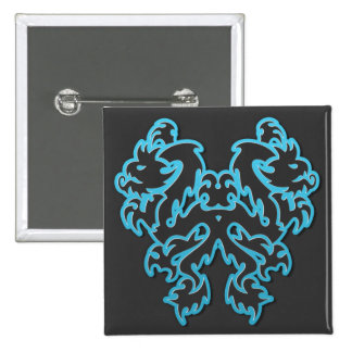 Blue Outline Double Tribal Dragons 2 Inch Square Button
