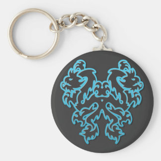 Blue Outline Double Tribal Dragons Key Chains
