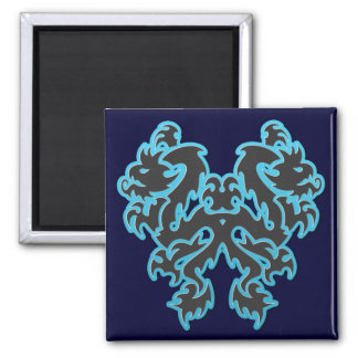 Blue Outline Double Tribal Dragons Magnets