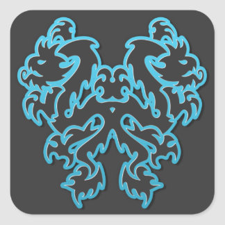 Blue Outline Double Tribal Dragons Square Sticker