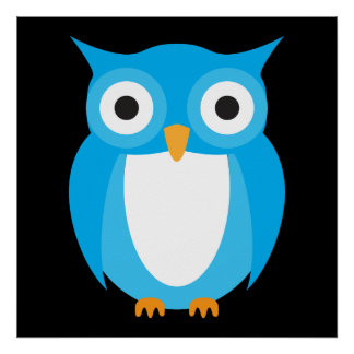 Blue Owl - Add Your Own Text Poster