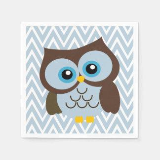 Blue Owl and Pastel Blue Chevron Zigzag Napkins Disposable Napkins
