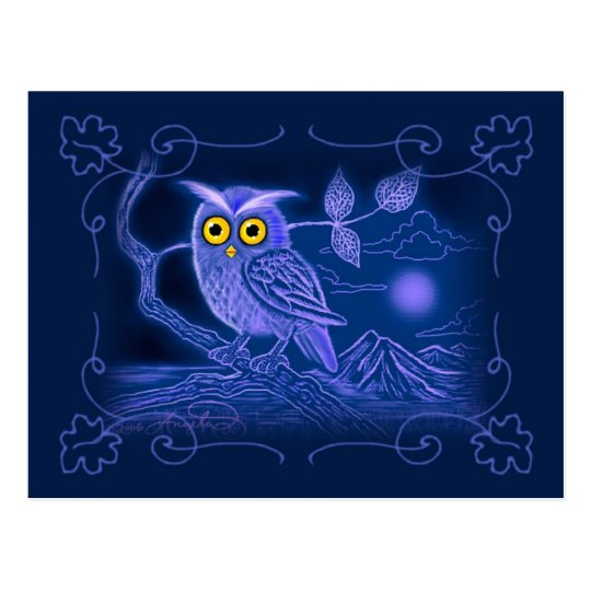 Blue Owl Art Postcard