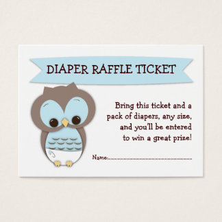 Blue Owl Baby Shower Diaper Raffle Ticket Insert