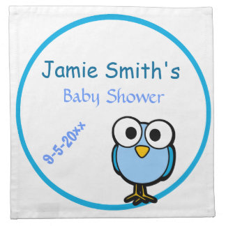 Blue Owl  Baby Shower Printed Napkins
