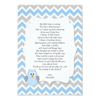 """Blue Owl Baby shower thank you notes with poem 5"""" X 7"""" Invitation Card"""