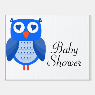 Blue Owl Baby Shower Yard Sign
