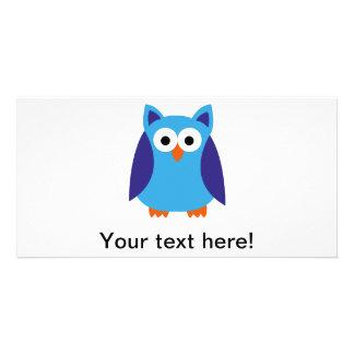 Blue owl cartoon card