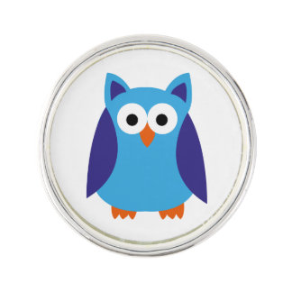 Blue owl cartoon lapel pin