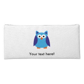 Blue owl cartoon pencil case