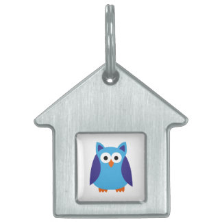 Blue owl cartoon pet ID tag