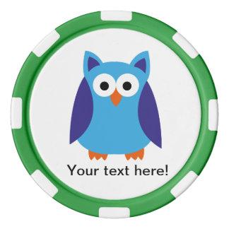 Blue owl cartoon poker chip set