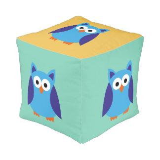 Blue owl cartoon pouf