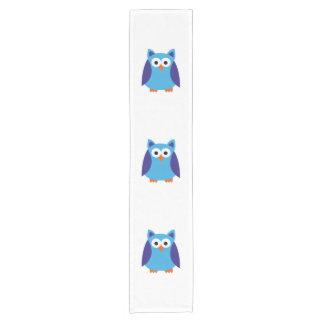 Blue owl cartoon short table runner
