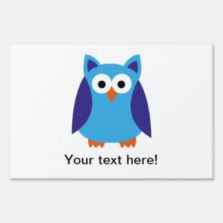 Blue owl cartoon sign