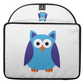 Blue owl cartoon sleeve for MacBooks