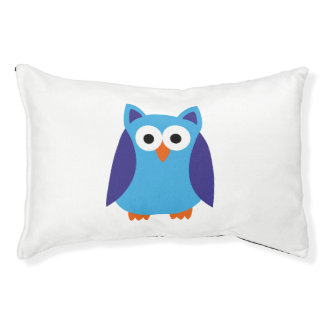 Blue owl cartoon small dog bed