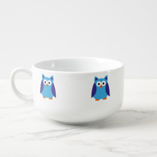 Blue owl cartoon soup bowl with handle