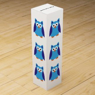 Blue owl cartoon wine gift box