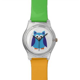 Blue owl cartoon wristwatch
