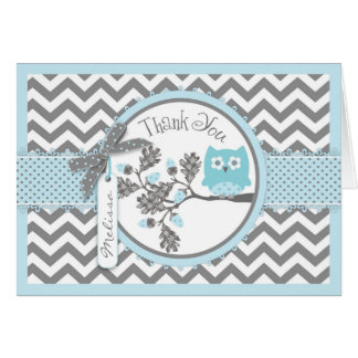 Blue Owl Chevron Print Thank You Card